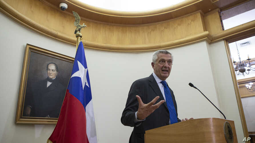 United Nations High Commissioner for Refugees, UNHCR, Filippo Grandi speaks after a meeting with Chile's Foreign Minister Teodoro Ribera in Santiago, Chile, Aug. 13, 2019.