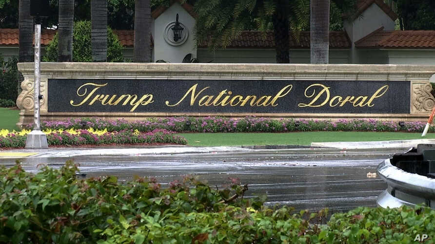 FILE - A frame from video shows the Trump National Doral in Doral, Florida, June 2, 2017. The White House says it has chosen President Donald Trump's golf resort in Miami as the site for next year's Group of Seven summit.