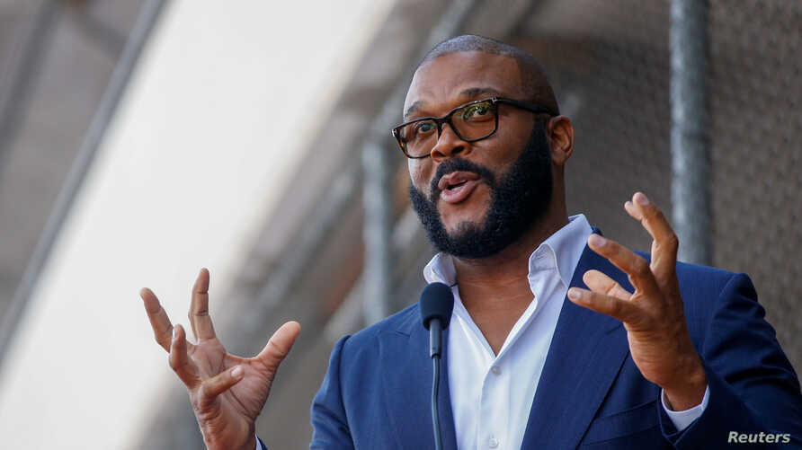Movie mogul Tyler Perry gestures as he speaks during the unveiling of his star on the Hollywood Walk of Fame in Los Angeles, California, Oct. 1, 2019.