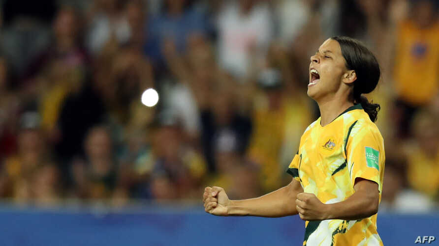 Australia's forward Samantha Kerr celebrates a goal that was later disallowed for offside during the France 2019 Women's World…