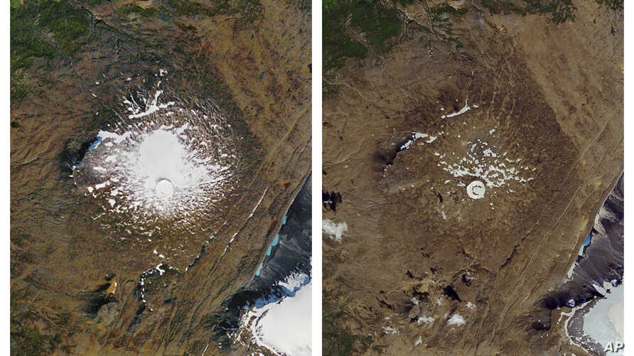 This combination of Sept. 14, 1986, left, and Aug. 1, 2019 photos provided by NASA shows the shrinking of the Okjokull glacier…