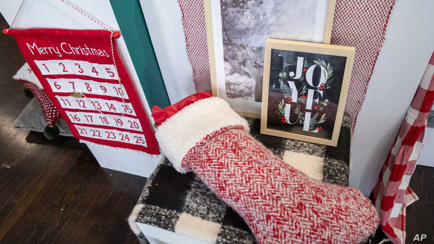 In this Oct. 23, 2019, photo Christmas themed decorations are displayed during a Target Holiday Outlook event in New York.