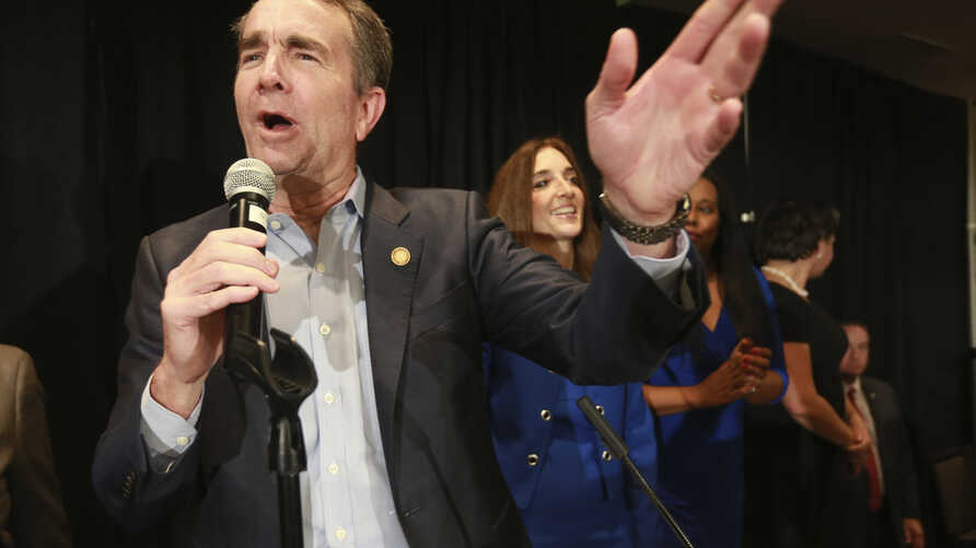 Virginia Gov. Ralph Northam speaks to supporters at a Democratic victory party in Richmond, Va., Nov. 5, 2019.