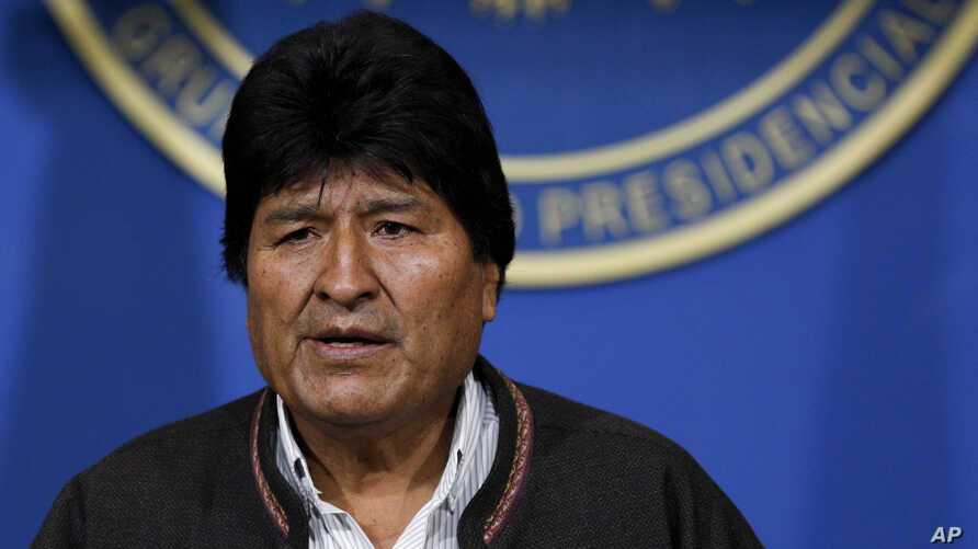 Bolivia's President Evo Morales looks on during a press conference in La Paz, Bolivia, Nov. 10, 2019