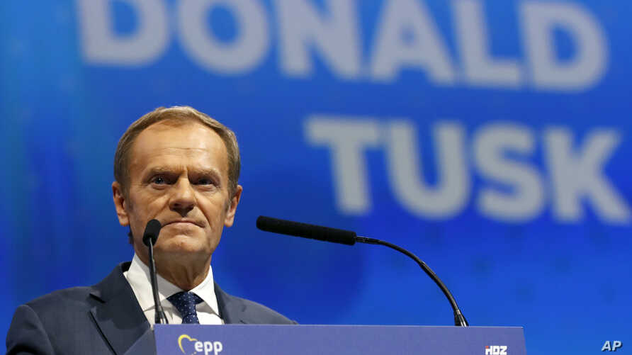 President of the European Council Donald Tusk speaks during the European Peoples Party (EPP) congress in Zagreb, Croatia,…
