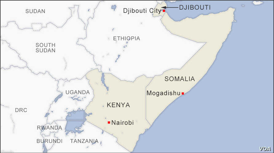 Map of Djibouti, Ethiopia and Kenya