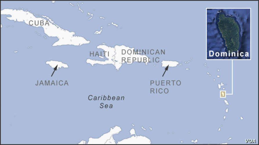 Map of Dominica, in the Caribbean