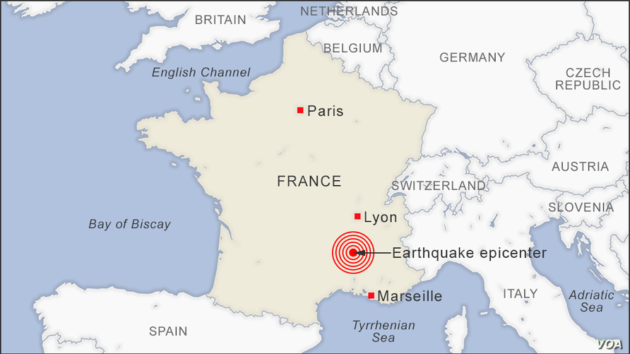 Map of earthquake epicenter in France 20191111