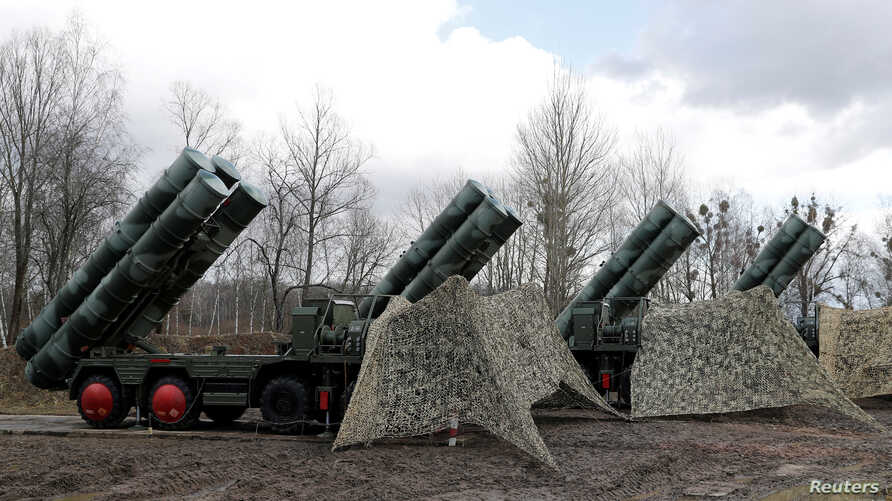 "FILE PHOTO: A new S-400 ""Triumph"" surface-to-air missile system after its deployment at a military base outside the town of…"