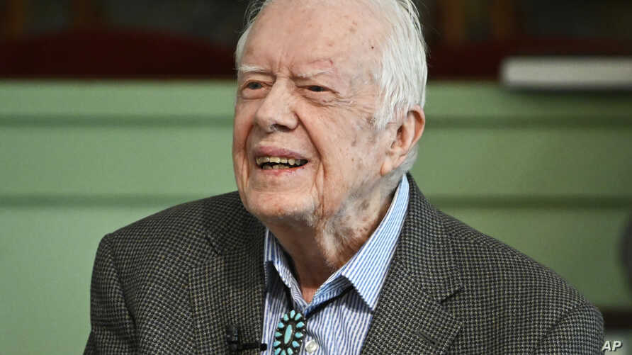 FILE - Former President Jimmy Carter teaches Sunday school at Maranatha Baptist Church, in Plains, Georgia, Nov. 3, 2019.