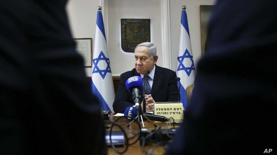 Israeli Prime Minister Benjamin Netanyahu chairs the weekly cabinet meeting at the Prime Minister's office in Jerusalem, Nov. 3, 2019.