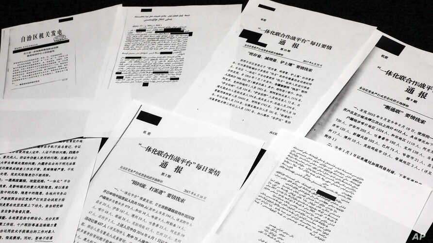 A sample of classified Chinese government documents leaked to a consortium of news organizations, is displayed for a picture in New York, Nov. 22, 2019.