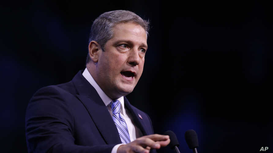 FILE - Democratic Congressman Tim Ryan speaks during the New Hampshire state Democratic Party convention in Manchester, New Hampshire, Sept. 7, 2019.