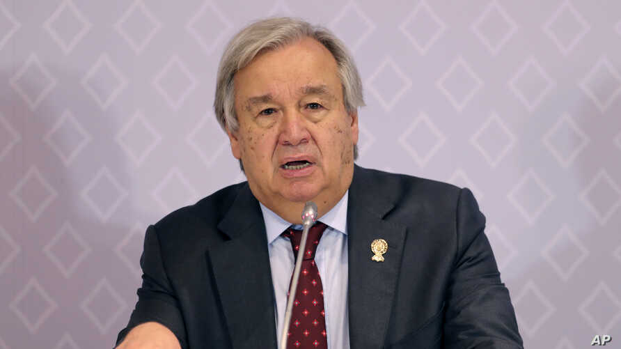 United Nations Secretary-General Antonio Guterres speaks during a press conference at the ASEAN summit in Nonthaburi, Thailand, Nov. 3, 2019.