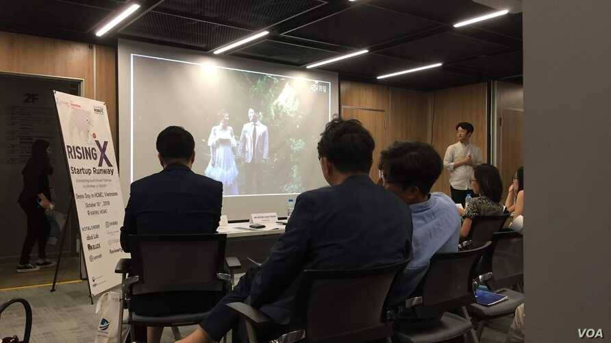 A Korean startup pitches to investors in Ho Chi Minh City.  South Korean startups in areas like cosmetics and hotel smartphone apps are joining in on the investment in Vietnam.