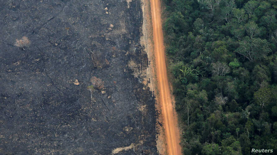 An aerial view shows a deforested plot of the Amazon near Porto Velho, Rondonia State, Brazil, Sept. 17, 2019.