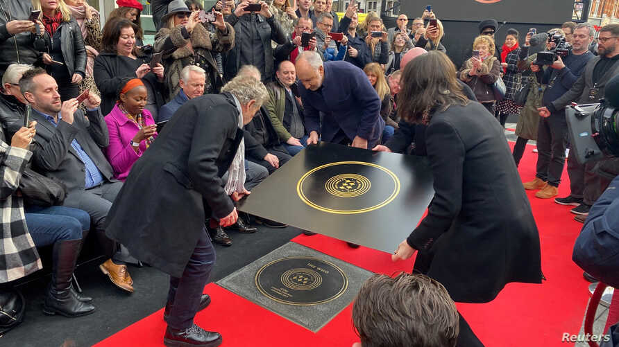 Pete Townshend and Roger Daltrey of The Who attend the unveiling of the founding stone of the new Music Walk of Fame in London, Britain, Nov. 19, 2019.