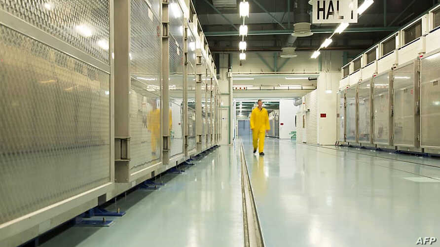 In this file handout photo taken Nov. 6, 2019, and released by Iran's Atomic Energy Organization shows the interior of the Fordo Uranium Conversion Facility in Qom, in northern Iran.