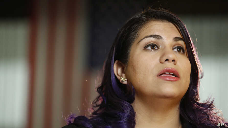 FILE - In this Feb. 28, 2017 file photo Astrid Silva is interviewed by The Associated Press on Capitol Hill in Washington. As…
