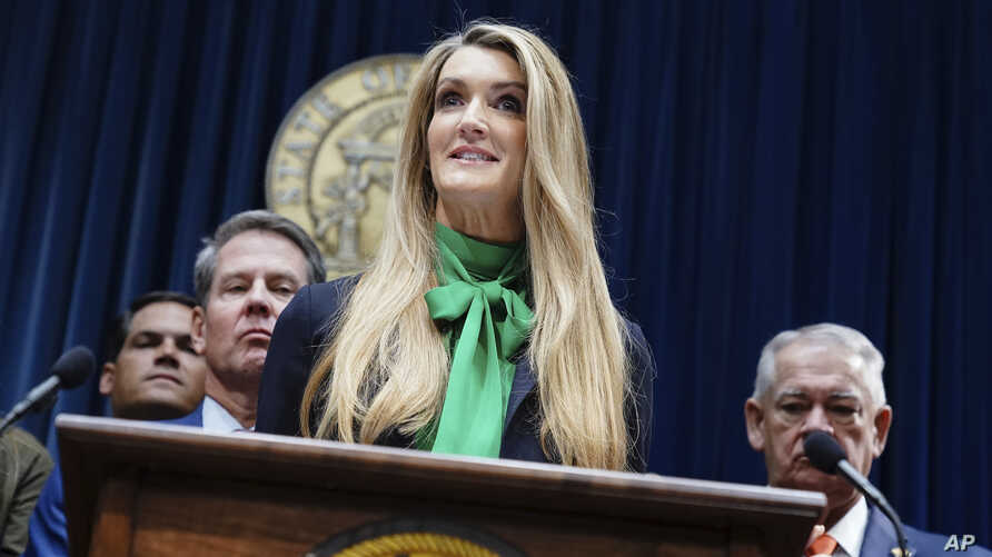 Businesswoman Kelly Loeffler speaks after she was introduced by Georgia Gov. Brian Kemp as his pick to fill Georgia's vacant U…