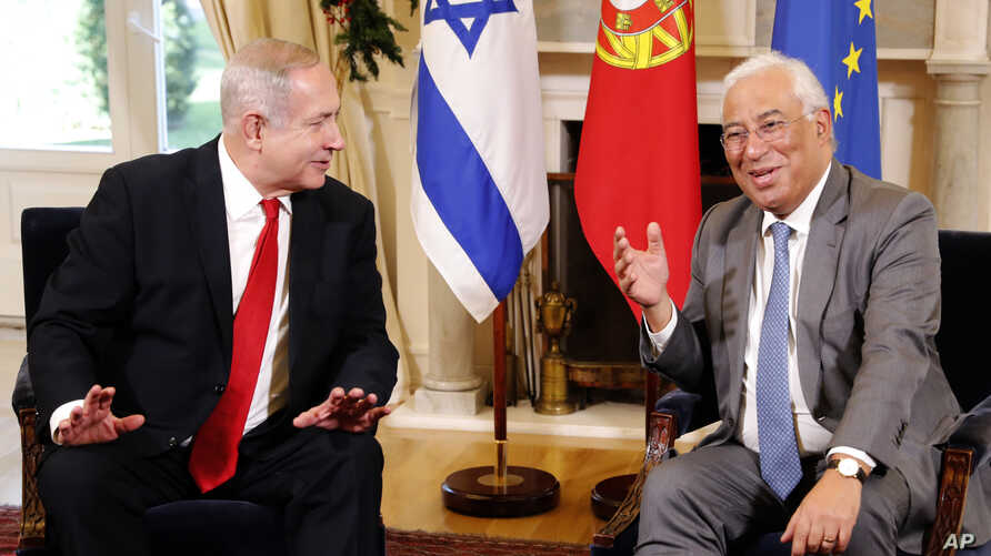 Israeli Prime Minister Benjamin Netanyahu, left, and Portuguese Prime Minister Antonio Costa meet at the Sao Bento palace in Lisbon, Dec. 5, 2019.