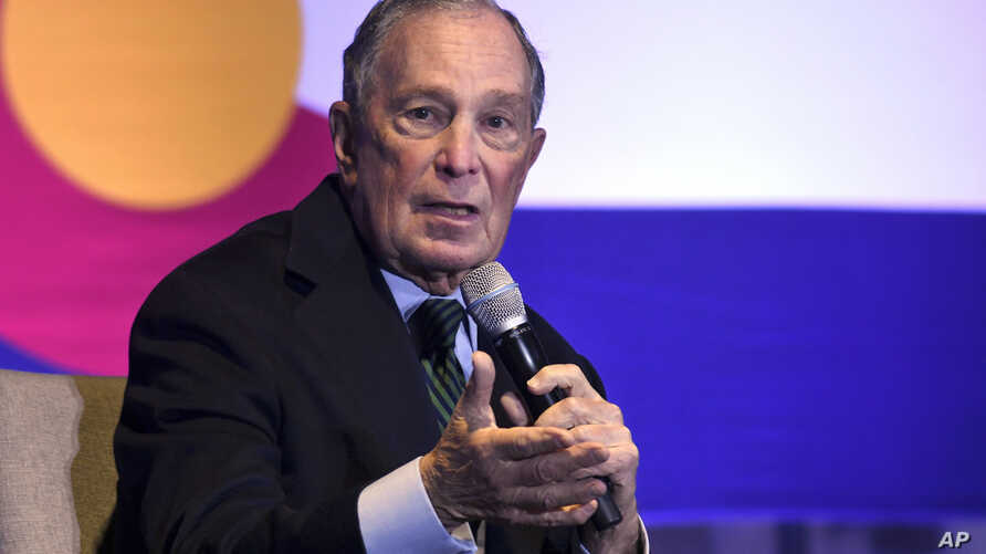 Democratic presidential candidate Michael Bloomberg speaks to gun control advocates and victims of gun violence in Aurora, Colo…