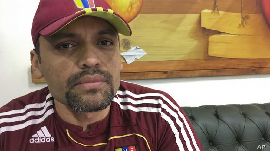 This Nov. 8, 2019 photo shows Lt. Col. Illich Sanchez, part of a group of Venezuela troops holed up for seven months in a…