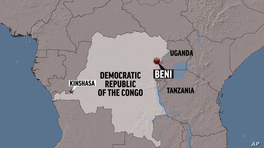 Map showing location of the Congolese city Beni.