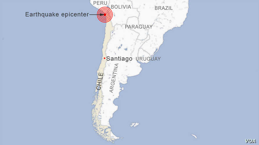 Map of Earthquake in Chile