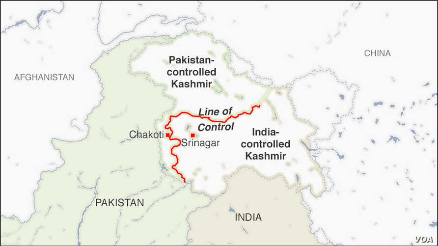 Map of Line of Control, Kashmir