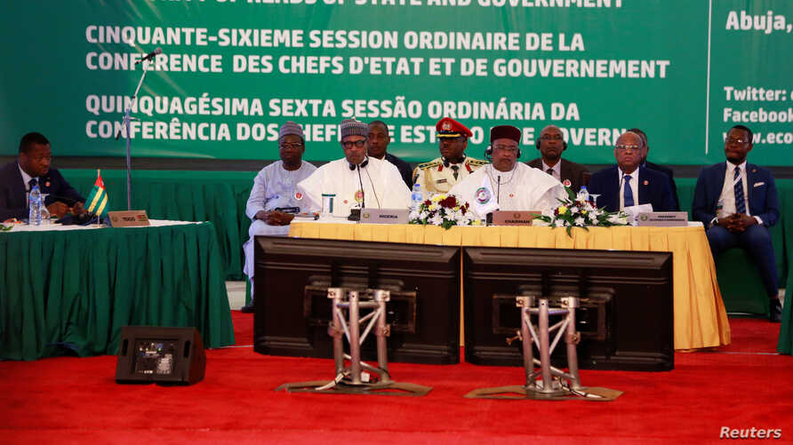 Officials from West African countries attend the 56th Ordinary Session of the ECOWAS Authority of Heads of State and Government in Abuja, Nigeria, Dec. 21, 2019.