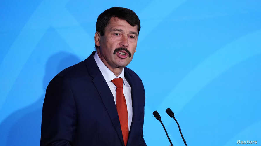 Hungary's President Janos Ader speaks during the 2019 United Nations Climate Action Summit at U.N. headquarters in New York…