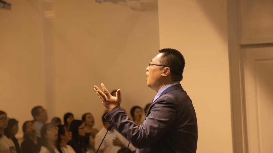 Early Rain Covenant Church founder, pastor Wang Yi, is seen in this undated photo posted to the church's Facebook page.