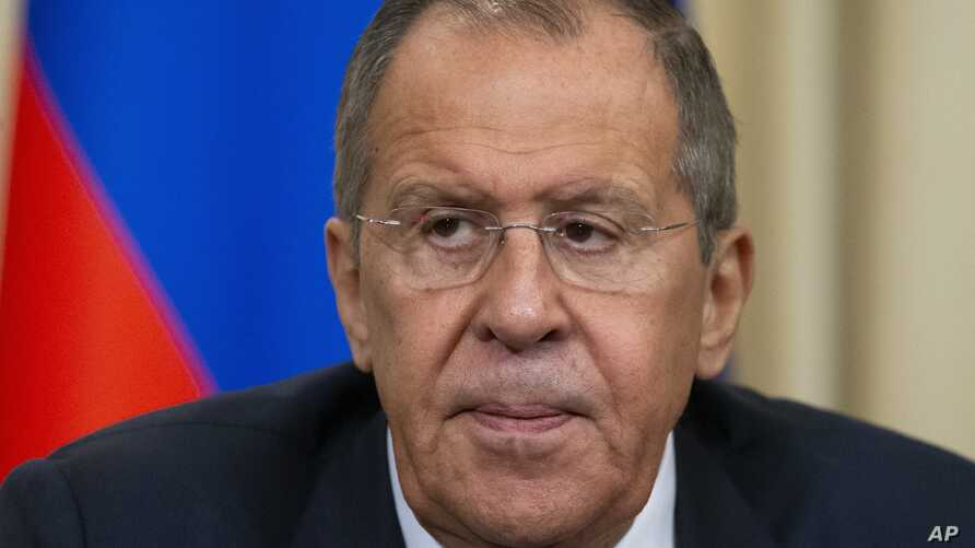 FILE - Russian Foreign Minister Sergey Lavrov is seen during a news conference in Moscow, Russia, Nov. 6, 2019.