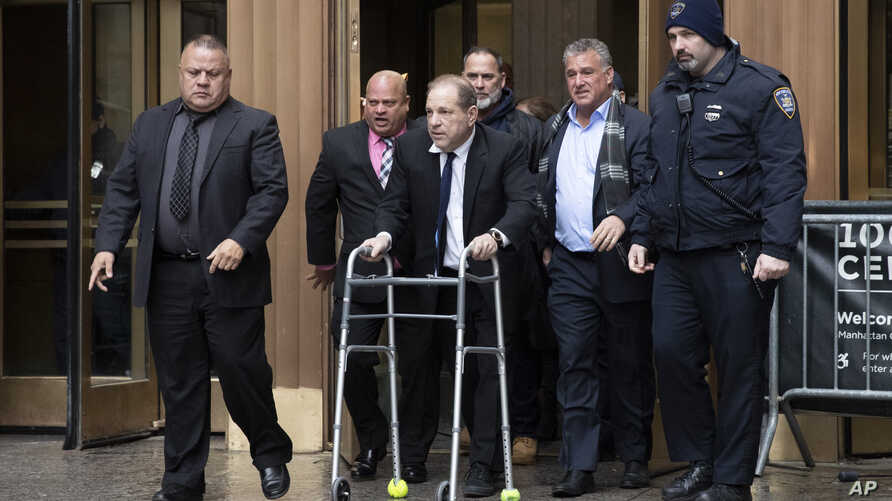 Former American film producer Harvey Weinstein leaves court following a hearing in New York.