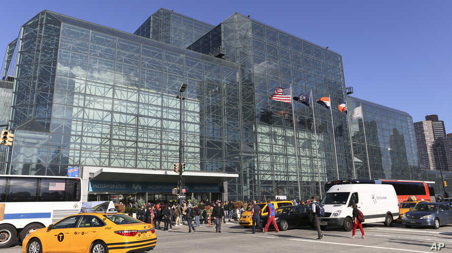 FILE - An exterior of the Javits Center is seen during the first day of New York Comic Con, Oct. 6, 2016.