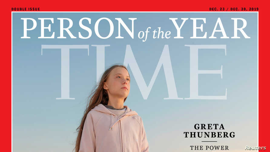 A Time cover features Swedish teen climate activist Greta Thunberg, named the magazine's Person of the Year for 2019 in this undated handout.