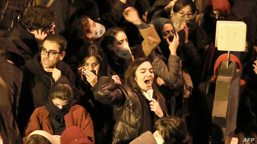 Iranians students chant slogans as they demonstrate following a tribute for the victims of Ukraine International Airlines…
