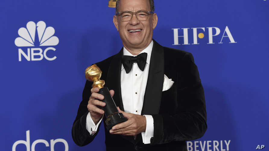Tom Hanks, winner of the Cecil B. deMille Award, poses in the press room at the 77th annual Golden Globe Awards at the Beverly Hilton Hotel, Jan. 5, 2020, in Beverly Hills, California.