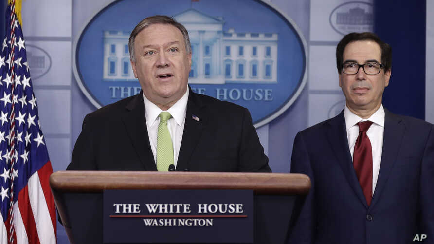 Secretary of State Mike Pompeo and Treasury Secretary Steve Mnuchin brief reporters about additional sanctions placed on Iran