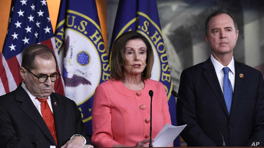 House Speaker Nancy Pelosi, Rep. Jerrold Nadler, D-N.Y., and Rep. Adam Schiff, D-CA.