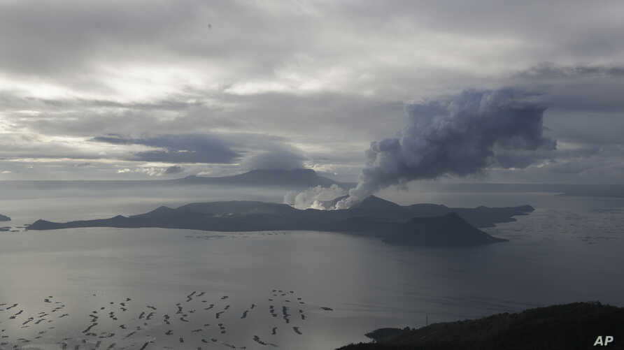A cloud of steam comes out of Taal Volcano as seen from Tagaytay, Cavite province, southern Philippines on Friday Jan. 17, 2020…