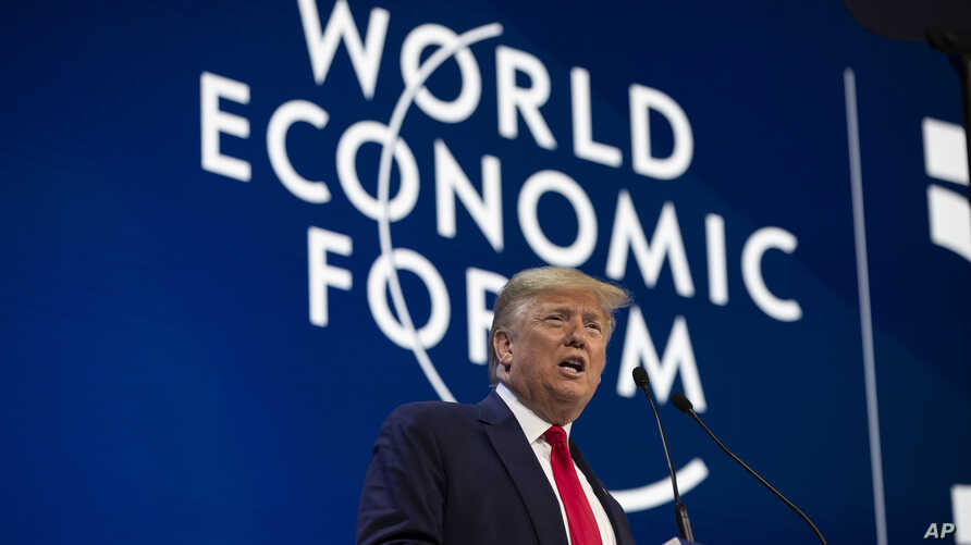 resident Donald Trump delivers the opening remarks at the World Economic Forum, Jan. 21, 2020, in Davos, Switzerland.