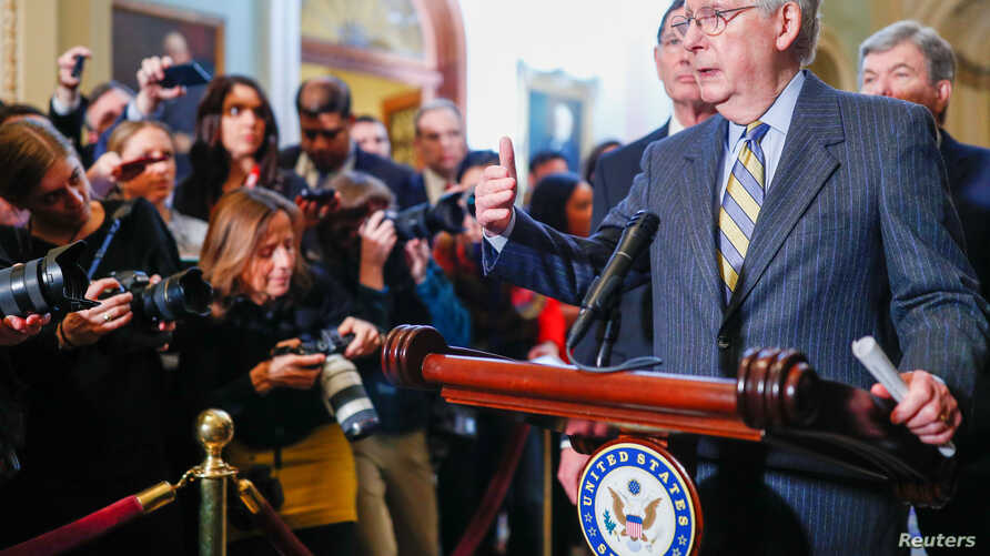 U.S. Senate Majority Leader Mitch McConnell (R-KY) speaks to Capitol Hill reporters following the weekly Senate Republican…