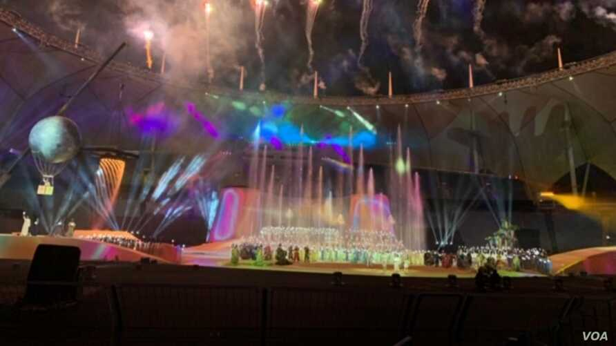 """Leila, the Land of Imagination,"" the grand finale of the Riyadh Season, incorporated dancing, music and fireworks, at the King Fahd Stadium in Saudi Arabia, Jan. 16, 2020. (Sabina Castelfranco/VOA)"
