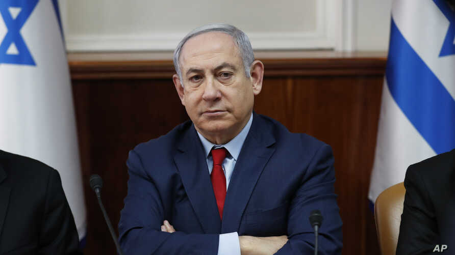 Israeli Prime Minister Benjamin Netanyahu chairs a weekly cabinet meeting in Jerusalem, Jan. 5, 2020.