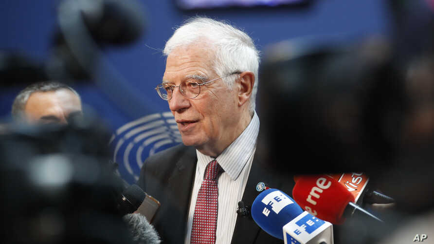 European Union foreign policy chief Josep Borrell talks to reporters at the European parliament, Jan.14, 2020 in Strasbourg, eastern France.
