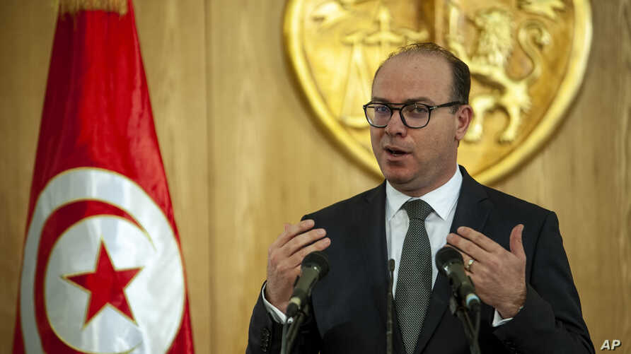 Prime Minister-designate Elyes Fakhfakh speaks during a press conference in Tunis, Tunisia, Jan.24, 2020.