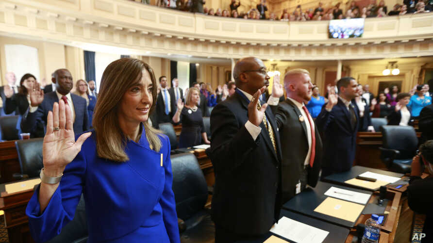 Virginia House of Delegates Speaker Eileen Filler-Corn, a Democrat, takes the oath of office during opening ceremonies of the 2020 Virginia General Assembly at the Capitol in Richmond, Virginia, Jan. 8, 2020.