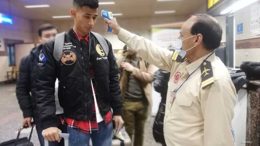 Passengers arriving from China Thursday morning at the Lahore airport were being screened for the coronavirus. (Courtesy Pakistan  Health Ministry)